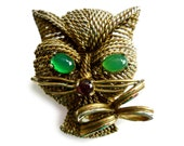 HOLD FOR KJR Rare 1960s Henkel & Grosse Gold Tone Cat Brooch - Kitten Pin - Green Stone Eyes - Red Stone Nose - Marked Grosse 1963 - Germany