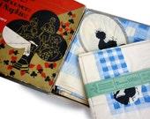 Art Deco 1920s Ephemera Prop - Dennison Crepe Paper Bridge Table Cloths and Napkins - 4 Screen Printed Paper Tablecloths and 16 Napkins