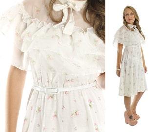Vintage 70s Floral Dress Full Skirt Sundress Hippie Dress Festival Dress 1970s Bohemian Dress White Pink Ruffled Dress Small S