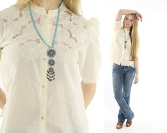 Vintage 70s Lace Cutout Blouse Embroidered Top Button Up Shirt Short Puff Sleeves Spring Summer 1970s XL Large L