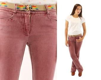 Vintage 90s CELINE Jeans Mid Rise Flared Jeans Long Designer Jeans Red Pink Denim Jeans XS 1/2
