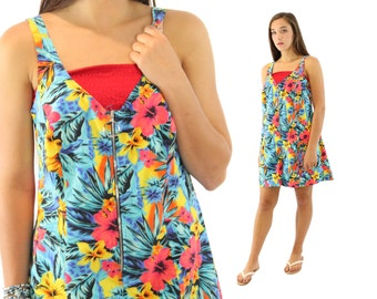 Vintage 80s Tropical Jumper Shorts Romper Swimsuit Coverup Sunsuit 1980s Small S Medium M OP Ocean Pacific Multicolored Mini Dress