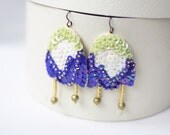 Bluebell Sequin Earrings, Spring Forest Flower, Periwinkle Blue White Sequins, Felt Embroidery Jewelry, Drop Dangle Earrings, Statement Bold