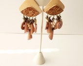 Bold 1980s Natural Wood Dangling Earrings 4 Inches Tribal Style