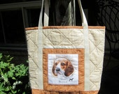 Dog Lover's Quilted Tote Bag - Intelligent Beagle - Fabric Tote Bag, Quilted Handbag, Quiltsy Handmade
