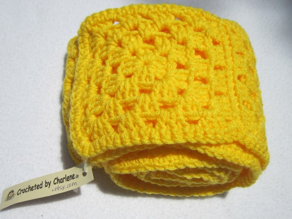 SALE Granny Square Crochet Yellow Scarf, Bright Yellow Winter Scarf, Soft and Wide Crochet Neckwarmer by CrochetedbyCharlene 50 Percent Off!