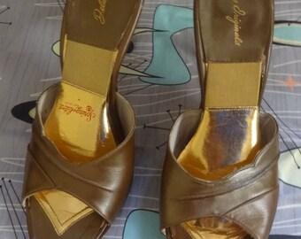 1950s 50s brown gold bronze heels springolators Spring-o-lator mules shoes