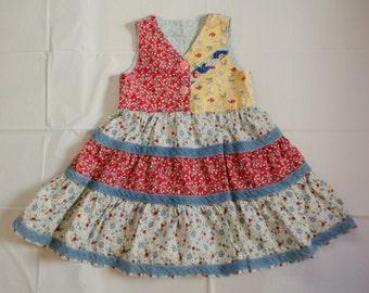 Vintage Toddler Shabby Chic Dress Boho Toddler Dress Toddler Birthday Dress Toddler Floral Dress 3T 4T Toddler Dress Toddler Peasant Dress