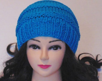 Teal Knitted Beanie, Winter Hat, Accordion Hat in Blue