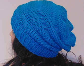 Teal Knitted Beanie / Womans Accessories / Winter Hat / Teen Hat / Accordion Hat in Blue