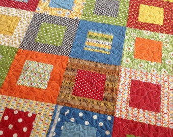 Potluck Lap or Baby Girl Quilt -- green, orange, blue, red, cream-- pattern also available