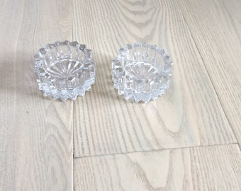 Vintage Heavy Crystal Ashtrays or Candle Holders