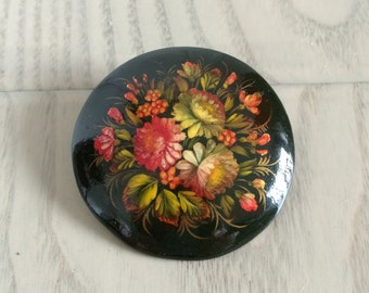 Vintage Hand painted Russian Floral Brooch