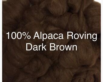 100% Alpaca Roving in Dark Brown (2)