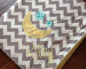 Personalized Baby Blanket- Minky Baby Blanket- Chevron Minky Blanket- Stars and Moon Applique Baby Blanket