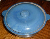One, Vintage, Blue Stoneware Ceramic Bean Pot with Lid