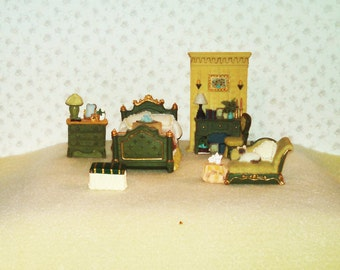 Reduced Vintage Miniature Dollhouse Furniture, Master Bedroom, Resin