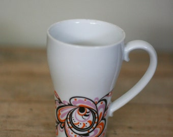 vintage style craft porcelain cup white pink orange and black made in japan