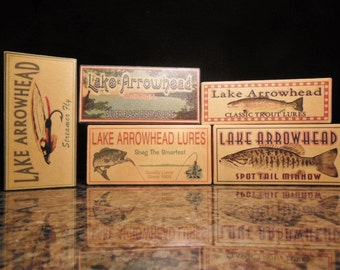 Lake Arrowhead California fishing lure boxes make great nostalgic cabin decorations