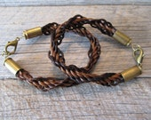 Bullets n Braids Bracelet, 9 inch, helix braid, spent casing - Ready to Ship Today