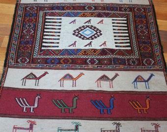 "Reduced; Vintage Soumak Kilim Area Rug, Hand Woven, Hand Embroidered, Turkish Cicim, 63"" x 38"""