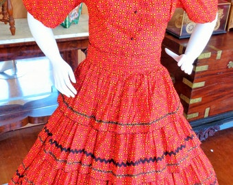 Vintage 1950s Charm of Hollywood Red Calico Patio Square Dance Dress