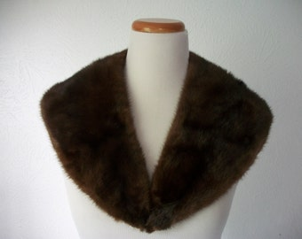 Real MINK Fur Collar Stole with Silk Lining - V neck 50s 60s Collar Stole