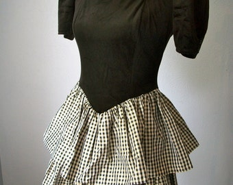 80s Black Velour Puff Sleeve Metallic Plaid Party Dress with Circle Back Cut Out - Sz Small