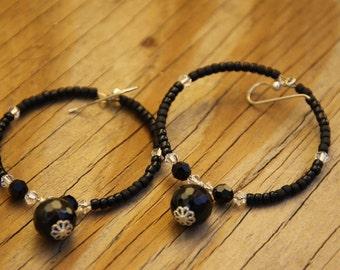 Sexy In Black, dangle hoop earrings,  Onyx, Swarovski Crystals
