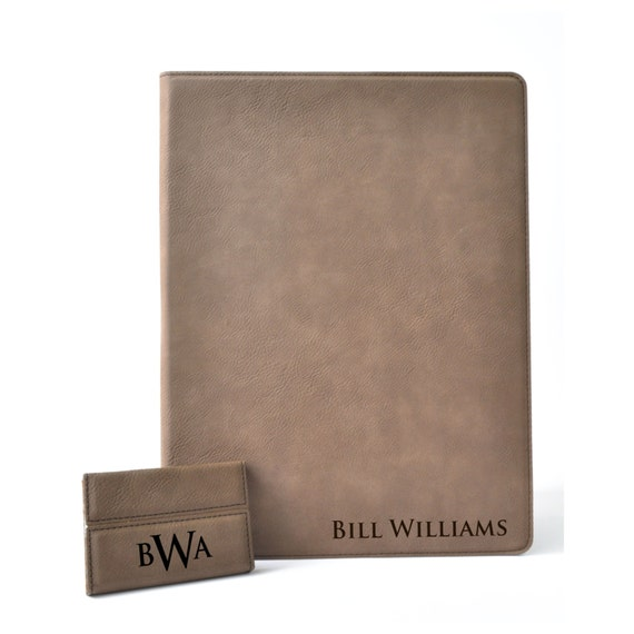 Personalized Leather Portfolio Notebook Journal Cover With Matching Business Card Holder