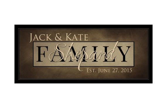 Personalized Family Name Sign Last Name Established Plaque Sign 10x24