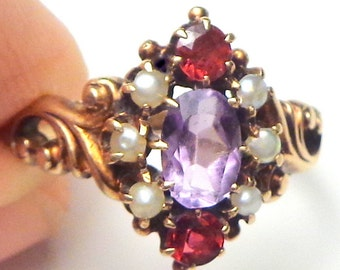 Antique Jewelry,10kt Yellow Gold, Anethyst, Seed Pearl, Ruby Ring,  Antique Solid Gold Ring, Estate Jewelry, Victorian Era Ring