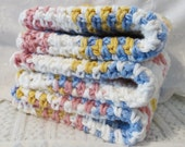 Handmade Cotton Wash Cloths Set of Three Summer Splash