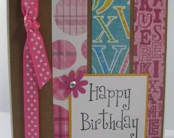 Polka dotted Happy Birthday handmade greeting card 008