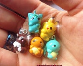 Kawaii Starter Pokemon Inspired Clay Charm Pikachu Squirtle Eevee Bulbasaur Charmander