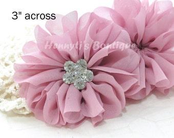 "Ballerina Daisy : DUSTY PINK 3.2"" inch Shabby Silk Chiffon Ruffled Tutu Fabric Flower, Bridal Flower, DIY Headband Hair Supplies Accessories"