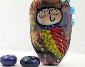 Artisan glass bead, Lampwork glass bead, handmade glass focal bead, glass focal bead, Owl and bird bead, Bird bead, owl