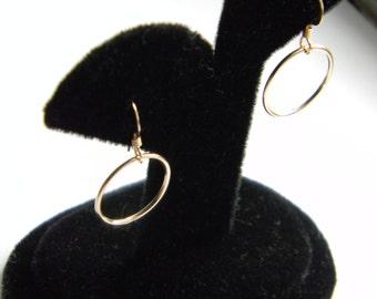 14K Gold Circle Hoop Earrings, Wanderlust Inspired, Worn by Jennifer Aniston, Linda Gergenblatt, Dangle Fish Hook Earring