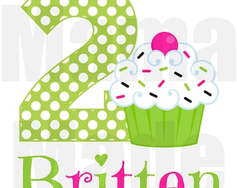 Green and Pink Cupcake Birthday Shirt or bodysuit Cupcake Birthday Shirt Birthday Cupcake Shirt Size 12 mo 18 mo 24 mo 2t 3t 4t 5 6 8 10 12
