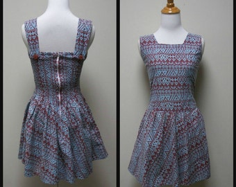 VINTAGE Cotton Batik Print Summer Sundress w Elastic Back Full Skirt Size S