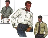 80s Mens Retro Shirt Pattern Simplicity 7015 Dress or Business Shirt Vintage Sewing Pattern size Chest 40 inches Neck 15 1/2 inches