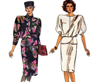 80s Peplum Top & Skirt Pattern Vogue 9459 Plus Size Vintage Sewing Pattern Size 12 14 16 Bust 34 36 38 inches