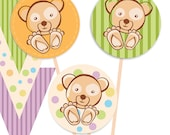 "Colorful Candy Bear  Printable Party Tags - Cupcake Toppers - 1,5"" Printable Party Favors - Instant Download"