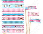 Cupcake Tea time Printable Straw Flag , baby birthday, colorful  pink blue  party birthday printable , - Instant Download