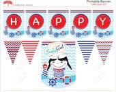 Little Sailor Girl Nautical Pennant Sailor Printable Party Banner  Happy Birthday Girl - Blue  Red  - Instant Download