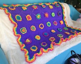 Crocheted Fiesta Rose Blanket Throw Afghan