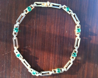 silver and green paste stones choker