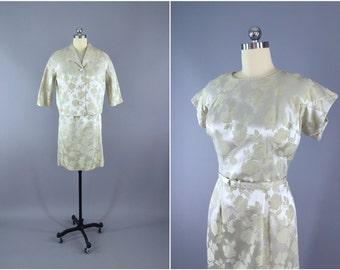 Vintage 1960s Dress / 60s Dress & Jacket Set / 1960 Wedding Mother of Bride Dress / Satin Damask Dress / Silver Pale Green Pastel