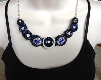 SALE, Blue and white button necklace