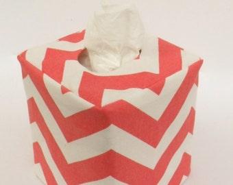 Coral Chevron reversible tissue box cover